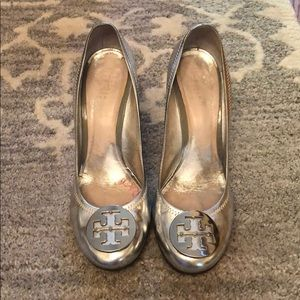Silver Tory Burch platforms